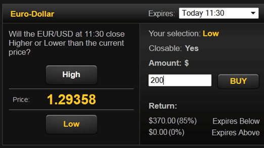 Select Your Binary Option